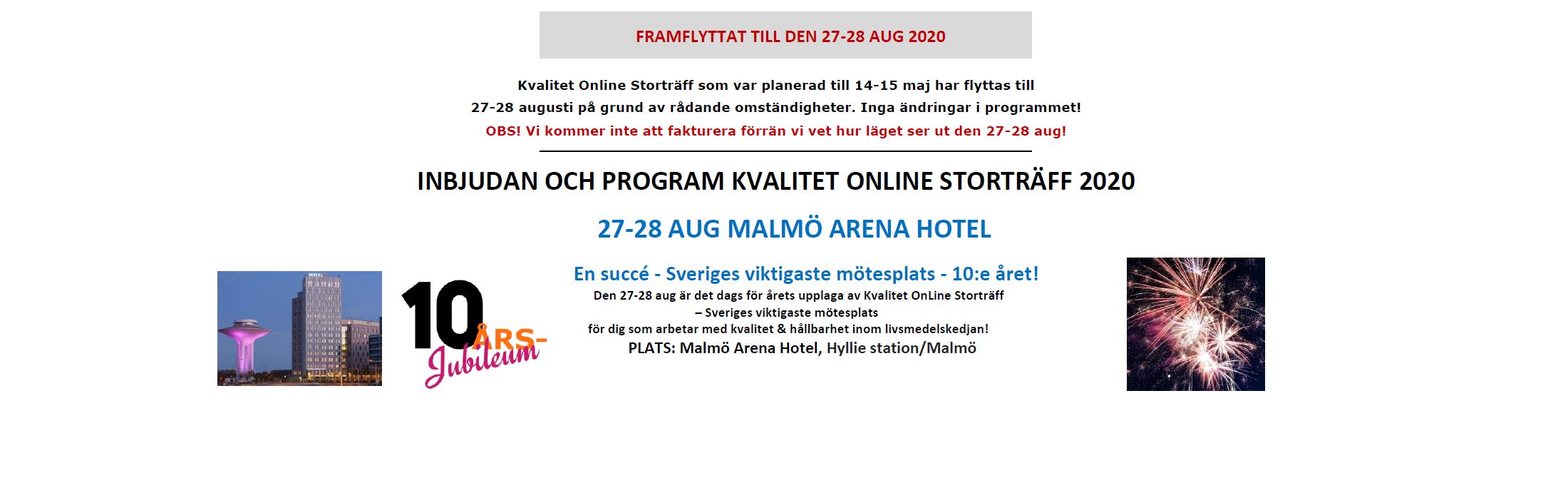 Kvalitet OnLine Storträff 27-28 aug 2020 - 10-årsjubileum! 1